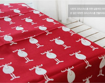 Oxford Cotton Fabric Reindeer Red By the Yard