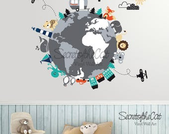Animals world map wall decal peel and stick poster animals world map decal map decal world map children wall decal map wall decal world decal nursery decal map gumiabroncs Images