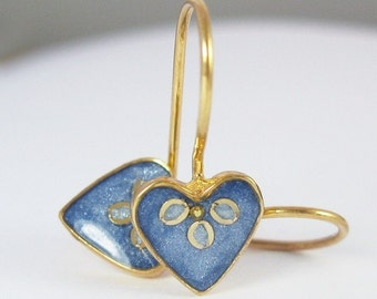 Tiny Gold heart Earrings, Blue jeans earrings, gold plated sterling silver, resin jewelry