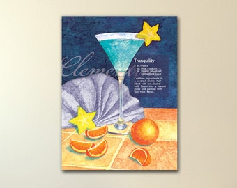 Blue Martini art canvas print, part of a series, fun gift idea, 3 sizes