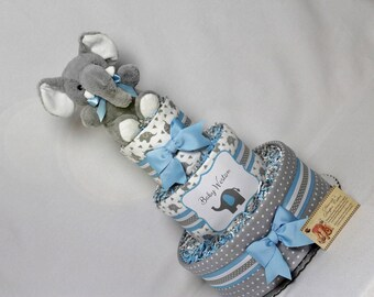 Baby Diaper Cake Elephants Shower Gift Centerpiece Boys Blue and Gray