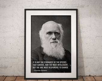 Charles Darwin, Digital Download, Evolution Quote, Darwinism, Science Classroom, History Classroom, Teacher, Quote, Printable Art