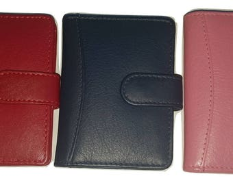 Genuine Soft Leather Credit Card Holder Wallet for 20 Cards in a Choice of Colours