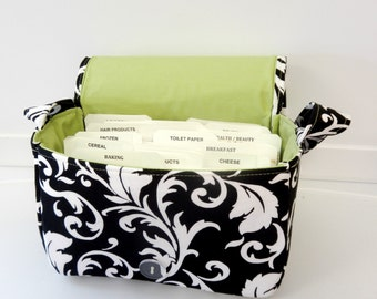 """Large 4"""" Size Fabric Coupon Organizer Holder Box- Attaches to your Shopping Cart - Black with White Scrolls"""