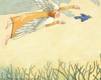 angel protection of young bird - guardian angel - All Is Well - original watercolor painting - safety - flying baby blue bird - fairy tale