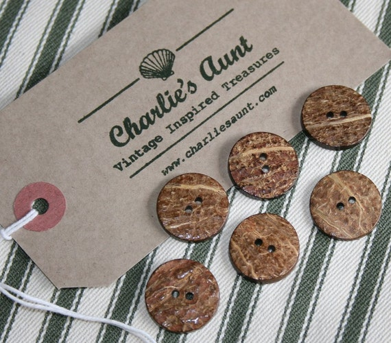 Plain natural coloured vintage coconut shell buttons with two holes