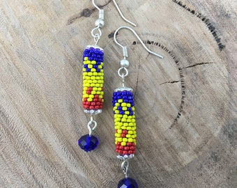 Blue, yellow & red dangle earrings, bead woven with blue crystals and silver plated hooks