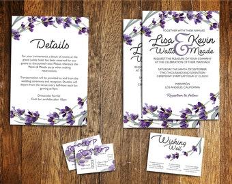 Customized Printable Purple Blossoms Wedding Invitation DIY Wedding Nature Wedding Outdoor