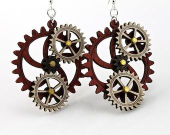 Kinetic Triple Moving Gear Earrings #5005A