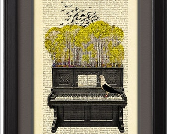 Piano Illustration poster, Art  Print  Posters, Dictionary  book pages print,  Dorm decor, Home  Wall Decor poster, CODE/072