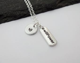 Willpower Necklace, Initial Necklace, Exercise Workout Jewelry, Fitness Necklace, Motivation Gift, Gym Jewellery, Weightlifter,Fitness Gifts