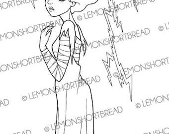 Digital Stamp Halloween Bride of Frankenstein, Digi Download, Horror Goth, Classic Monsters, Clip Art, Graphic Image