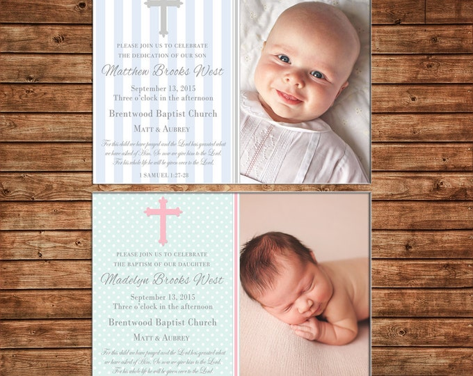 Boy or Girl Photo Invitation Christening Baptism Dedication Announcement - Can personalize colors /wording - Printable File or Printed Cards