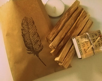 "Palo Santo Kit // Matchbook and Tealight Included // Qty 5 4"" Sticks // Meditation // Natura Incense // Sustainably Harvested"