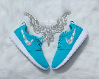 READY to SHIP Size 7.5  Nike Roshe One made with SWAROVSKI® Crystals - Clear Jade/White