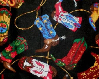Cotton Fabric Quilting CowBoy  boots