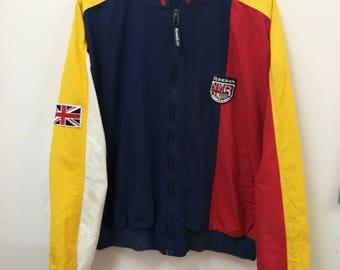 Vintage REEBOK Classics//Bomber Windbreaker Jacket//Color Block Union Jack Flag