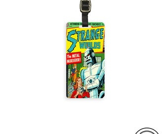 Luggage Tag Comic Book Cover Robot SciFi Geek Luggage Tag - Printed Personalized Backs Custom Luggage Tag  -Single Tag
