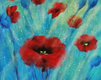 Poppy Print, Sunlit Poppies Picture - Limited Edition Fine Art Print, Original Artwork by Tracey Zorek