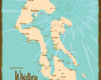 Whidbey Island, WA Map - Wood or Metal Sign