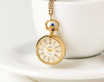 Watch necklace etsy rare watch necklace dawn round tiny necklace watch gold plated mechanical watch pendant rose aloadofball Image collections