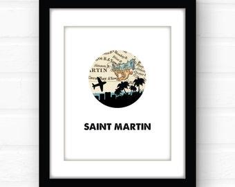 St Martin tropical decor | St Maarten city skyline print | tropical beach decor | travel poster | Caribbean art print | Caribbean map art
