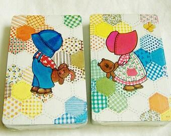 Vintage Cards • 2 Decks • Bonnet Girl • Hexagon Quilt • Boy w/ Cap • Stardust • Nu Vue • new in package