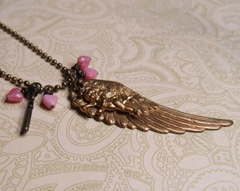 Charm Necklace, OOAK Jewelry, Angel Wing, Love, Cupid Cherub, Pink Hearts, Tiny Key, Love Charms on Brass Chain, OOAK Love Gives You Wings