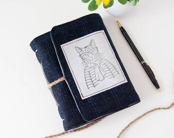 Cat Journal – Hipster Cat Notebook with Unlined Pages – Cute Cat Lover Gift