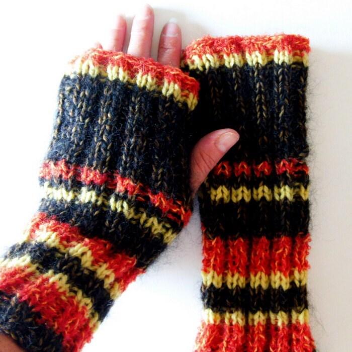Knitting Pattern Fireside Fingerless Glove Pattern Easy