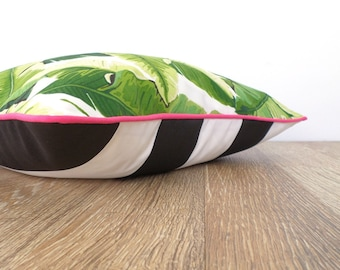 Colorful pillow cover outdoor fabric, tropical outdoor cushion cover, block  striped cushion case black and white decor, gift for her