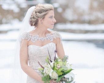 Bridal Bolero - Rhinestone Bolero - Crystal Bolero - Wedding Statement Necklace - Shoulder Necklace - Beaded Lace Bolero - Bridal Accessory
