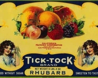 Tick Tock Rhubarb Label (Art Prints available in multiple sizes)