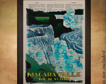 Niagara Falls Dictionary Art Print New York state waterfalls Niagara Falls poster Wall Art Home Decor da1149