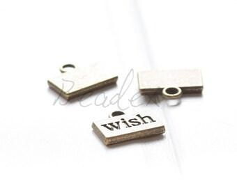 20pcs / Tag / Wish / Charm / Antique Brass / Base Metal 13x11mm (Y8121//B294)