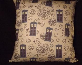 "Dr Who Tardis Cushion, 18"" x 18""m handmade"