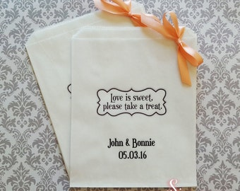 Personalised Love is sweet White Paper Candy Buffet Lolly Bags
