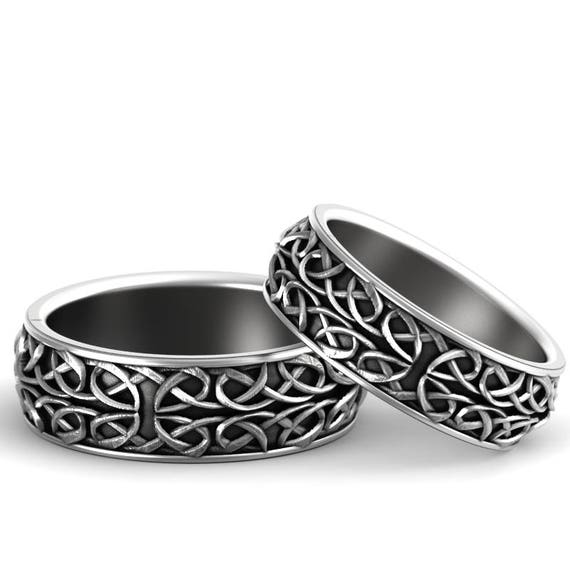 Celtic Wedding Ring Set With Interwoven Dara and Pretzel Knot Design in Sterling Silver, Made in Your Size CR-628