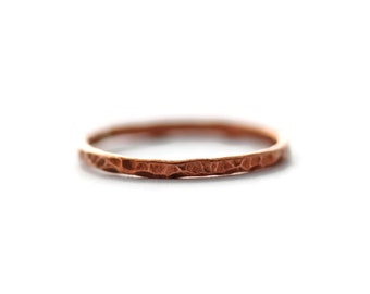 Copper Stacking Ring, Hammered Copper Stacking Ring, Hammered Stacking Ring, Thin Copper Stacking Ring, Thin Stacking Ring, Midi Copper Ring