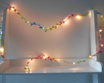 Rainbow Fairy Lights Leaf - Garland - String Lights Battery Indoor Bedroom Wedding Decorations 2m 3m 4m 5m