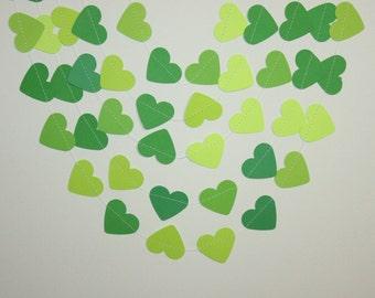 Green Heart Garland- green garland, Green ombre Garland, Green and White Garland,green heart bunting ,green wedding heart garland
