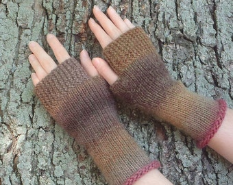 wool fingerless gloves, wool texting gloves, hand made in usa, boho accessory wool autumn accessory, texting mitts fingerless mitts /Ready