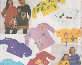 Appliqued Top Pattern Shirt Tunic Fish Sunglasses Flowers Girls Misses Size XXS - XL Uncut Simplicity 9920