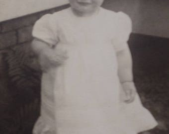 Edwardian Toddler RPPC Real Photo Postcard, Antique UPPC Black and White Gelatin Photograph Child/ Baby Girl