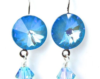 Crystal Ultra Blue Swarovski Earrings in Silvertone Setting, Free US Shipping