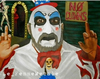 "Captain Spaulding original canvas art ""No Clowns"" Devil's Rejects House of 1000 Corpses Sid Haig 12x9 acrylic painting"