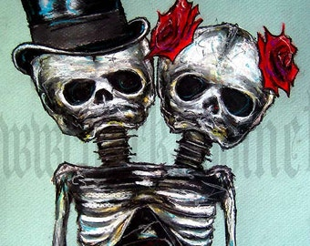 """Print 8x10"""" - Couple Skeletons Skull Top Hat Roses Flowers Halloween Day of the dead Gothic Wedding Love Conjoined Twins Sideshow"""