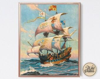 Vintage Ship Painting - Art Print - Nautical - Maritime - Tiki