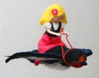 Baby mobile Thumbelina, nursery mobile, girl crib mobile, nursery decor, needle felted cot mobile, Waldorf doll, baby shower gift mobile