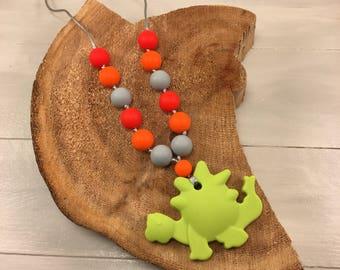 Dino Fidget Necklace, Dinosaur Necklace, Fidget Necklace, Boy Necklace, Fidget, Chew Necklace, Sensory Necklace, Childrens Jewelry, Ages 3+